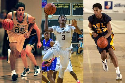 From left, Mark Karcher of St. Frances (1997), Immanuel Quickley of John Carroll (2015) and Carmelo Anthony of Towson Catholic (2001) are some of the biggest stars to play in the Baltimore Catholic League.
