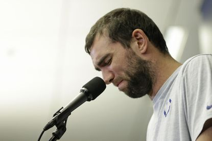 Indianapolis Colts quarterback Andrew Luck speaks about his retirement during a news conference following the team's NFL preseason football game against the Chicago Bears Aug. 24 in Indianapolis.
