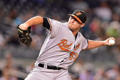 Orioles left-hander Zach Britton delivers a pitch against the New York Yankees at Yankee Stadium on Sept. 8, 2015 in New York.