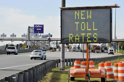 The toll booth at the Francis Scott Key Bridge gives evidence to the first phase of the largest package of toll increases in Maryland's history, taking effect Tuesday.