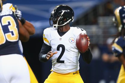 Michael Vick of the Pittsburgh Steelers looks to pass the ball against the St. Louis Rams in the third quarter at the Edward Jones Dome on September 27, 2015 in St. Louis, Missouri. Vick is slated to start Thursday night against the Baltimore Ravens.