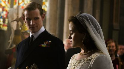 """Claire Foy plays Queen Elizabeth II and Matt Smith her consort Prince Philip in the new Netflix series """"The Crown."""""""