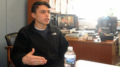 Matt Resnik, a senior at C. Milton Wright High School in Bel Air and the student representative to the Board of Education, talks Thursday about his experience with a countywide learning module on school shootings the previous day.