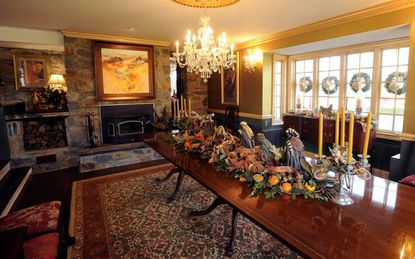The formal dining room at Stone Haven Farm, the dream home of JoAnne Duffy and Dan Saffer.