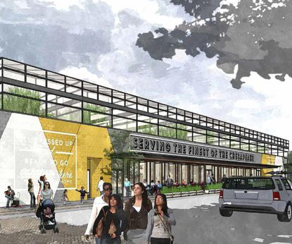"""This rendering shows the renovated facade and a greenhouse atop Cross Street Market, <a href=""""http://www.baltimoresun.com/business/real-estate/wonk/bs-bz-cross-street-market-20150608-story.html"""" target=""""_blank"""">part of a redevelopment proposal </a>for the aging Federal Hill markerplace by Caves Valley Partners and War Horse."""