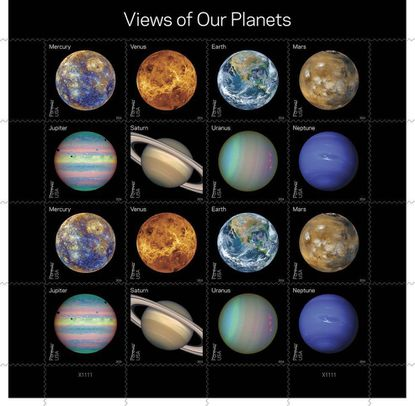 "Eight new colorful Forever stamps, each shown twice, feature Mercury, Venus, Earth, Mars, Jupiter, Saturn, Uranus and Neptune. Some show the planets' ""true color"" — what one might see if traveling through space. Others use colors to represent and visualize certain features of a planet based in imaging data. Still others use the near-infrared spectrum to show things that cannot be seen by the human eye."