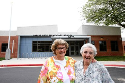 Phelps Luck Elementary School teachers Amy Dower, left, and Nancy Koza have taught at the Columbia school for more than 36 years.