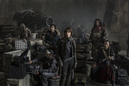 """Riz Ahmed, left, Diego Luna, Felicity Jones, Jiang Wen and Donnie Yen in the first image released for """"Star Wars: Rogue One"""""""