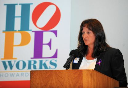 Dawn Root, of Glen Burnie, is an advocate for domestic violence prevention, and spoke this week at an ndoor candlelight vigil organized by HopeWorks in Howard County. Her mother was the victim of a fatal shooting in a domestic violence incident.