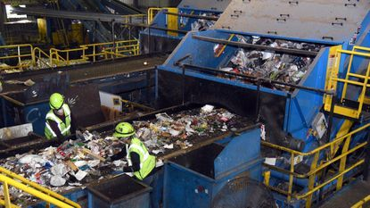 This is the sorting facility of Waste Management Recycle America in Elkridge, which accepts recycling from Carroll, among other locales.