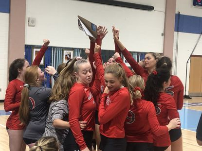 Maryvale celebrates its upset of third-ranked Mount de Sales in volleyball Thursday night, October 17, 2019.