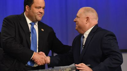 Democratic challenger Ben Jealous and Republican Governor Larry Hogan prior to their debate at Maryland Public Television Monday night.