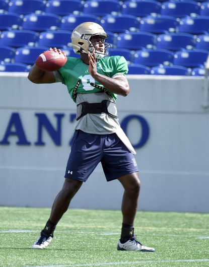 Senior Dalen Morris, shown throwing passes during a 2019 practice at Navy-Marine Corps Memorial Stadium, has vaulted to the top of the depth chart after just one week of preseason practice.