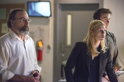 """Mandy Patinkin as Saul Berenson, Claire Danes as Carrie Mathison and Rupert Friend as Peter Quinn in """"Homeland."""""""