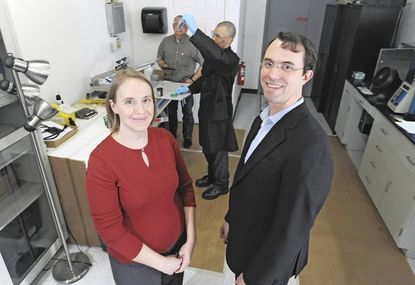 Vorbeck Materials CEO John Lettow and Christy Martin, director of development, are pictured in a company laboratory.