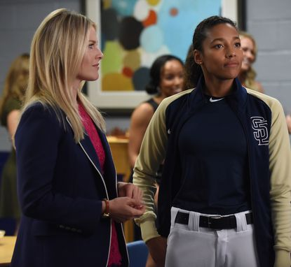 "Ali Larter and Kylie Bunbury in the""Unstoppable Forces & Immovable Objects"" episode of ""Pitch."""