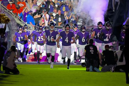 """The Baltimore Ravens, reacting to a fan's suggestion, played Omar whistling as a tribute to late actor Michael K. Williams of """"The Wire"""" fame before the game between the Baltimore Ravens and the Kansas City Chiefs on Sunday, Sept. 19, 2021. (Karl Merton Ferron/Baltimore Sun Staff)"""