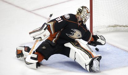 Anaheim Ducks goalie Frederik Andersen stops a shot during the Ducks' 6-1 win over the Calgary Flames in Game 1 of the second round of the Stanley Cup playoffs on Thursday.