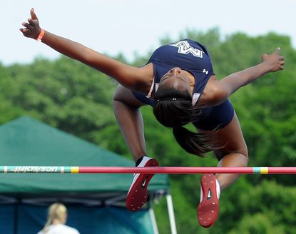 Manchester Valley's Erika Hurd competes in the high jump during the Class 1A track and field state meet at Morgan State University in Baltimore, May 28, 2011.