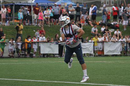 Philadelphia Wings lacrosse player Paul Rabil participates in the Shootout for Soldiers Major League Lacrosse game June 19, 2013 at McDonogh School.