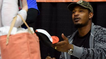 Orioles center fielder Adam Jones at an autograph session at FanFest at the Baltimore Convention Center.