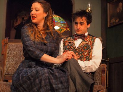 """Mollie Ralston (Ann Turiano, left) and Christopher Wren (Brian Kehoe) in the Vagabond Players' production of """"The Mousetrap."""""""