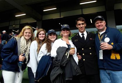 (From L to R) The Lillefloren family — Kathryn, Anne, Mary, Patty, nephew Charlie Steveken, who was a midshipman at the time, and David pose for a photo at the 2012 Navy-Notre Dame game at Aviva Stadium in Dublin, Ireland.