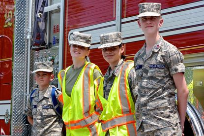 Pictured, from left, are Mount Airy Cadet Composite Squadron Cadet Airman 1st Class Conner Snyder, Cadet Technical Sergeant Katherine Grasley, Cadet Senior Airman Dimitry Madsen, and Cadet Technical Sergeant Dylan Marty.