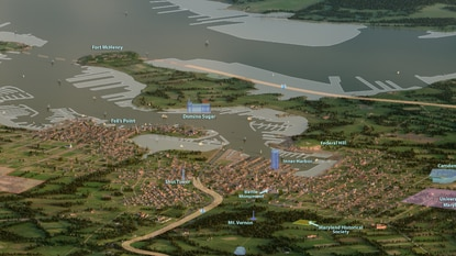 A 3D rendering of Baltimore circa 1815, overlaid with today's landmarks.