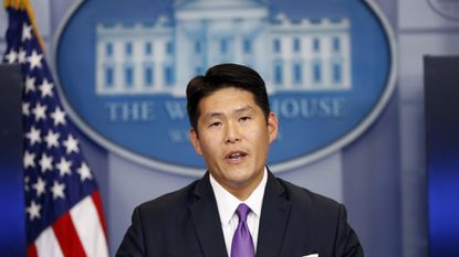 Principal Associate Deputy Attorney General Robert K Hur speaks during a press briefing at the White House in Washington, Thursday, July 27, 2017.