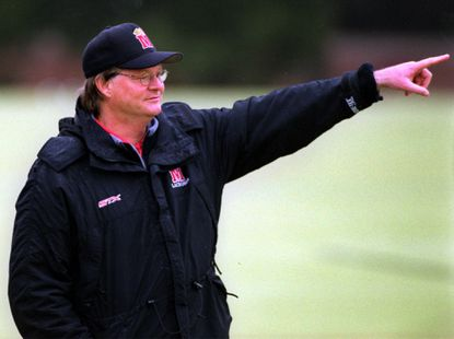 Maryland men's lacrosse coach Dave Cottle on the sideline in 2002.