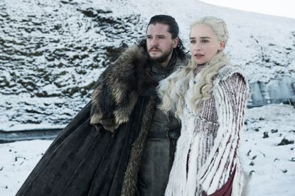 "Kit Harington as Jon Snow, left, and Emilia Clarke as Daenerys Targaryen in a scene from ""Game of Thrones,"" which premiered its eighth season on Sunday."