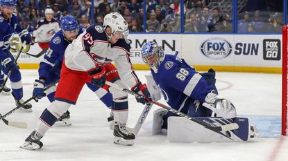 NHL playoffs: Blue Jackets stun Lightning to take 2-0 series lead; Islanders and Blues win; Golden Knights tie series with Sharks