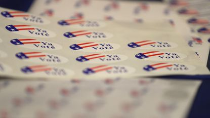 Voter stickers are displayed during a demonstration of the ImageCast X ballot marking device at the Sacramento County Department of Voter Registration and Elections last spring in Sacramento, California.