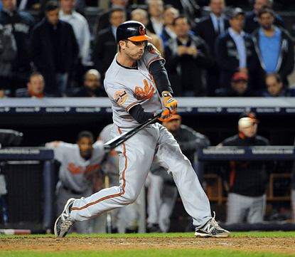 Orioles shortstop J.J. Hardy hits an RBI double in the top of the 13th inning, scoring third baseman Manny Machado to give the Orioles a 2-1 victory over the New York Yankees in Game 4 of the American League Division Series.