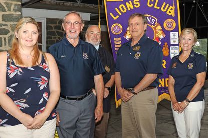 Members of the Bel Air Lions Board of Directors for 2020-2021, from left to right: Secretary Amy Biondi, Treasurer John Mosier, Second VP Ken Waldner, President Ken Spoerl, and First VP Sandy Guzewich.