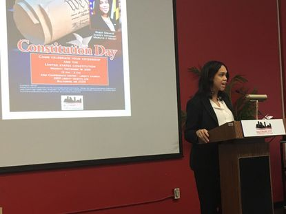 Baltimore State's Attorney Marilyn Mosby was the guest speaker for an event commemorating Constitution Day at Baltimore City Community College.