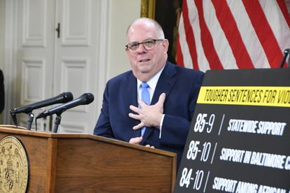 Gov. Larry Hogan's political lobbying organization will begin airing television ads against Democrats in the General Assembly over crime and taxes. In this Feb. 20, 2020, photo, Hogan speaks to reporters during a State House news conference on his crime bills and a Democratic proposal to expand the sales tax to apply to services.