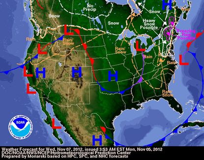 Maryland could see snow and/or a wintry mix Wednesday as a nor'easter moves up the coast.