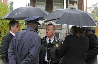 Kevin Davis when he was Baltimore Police Commissioner talking to and others about the homicide of Kendal Fenwick, 24, who lived in 3500 block of Park Heights Avenue.
