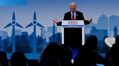 Sen. Ben Cardin speaks at the U.S. climate action center on Nov. 11 during the COP23 United Nations Climate Change Conference in Bonn, Germany.