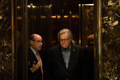 Trump campaign CEO Steve Bannon exits an elevator in the lobby of Trump Tower.