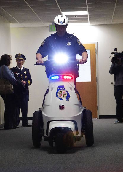 At the time the addition of three officers for the Towson precinct as announced May 1, it was also announced that the precinct would get three electric standup vehicles, pictured here.