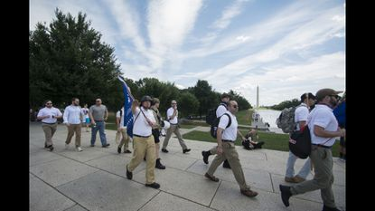 """Alt-Right in Fat Elvis Mode: 100 or so Nazis gather for """"Freedom of Speech"""" rally"""