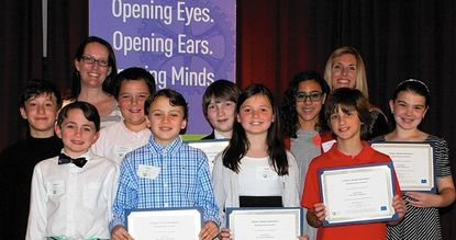 Thirteen fifth-graders from West Towson Elementary School were finalists in the 2015 Maryland Letters for Literature competition. They are, in front from left, Blake Bayer, Ryan Quinn, Kate Carerra, and Landon Katz. And in back from left, Benjamin Raufman, Will Lehmann, Jackson Graney, Nora Shive, and Ceci Wetzel. Their teachers in the back are Theresa Mohr, left, and Erin Rossetti.