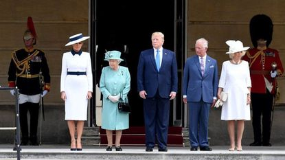 """President Donald Trump and First Lady Melania are welcomed by Queen Elizabeth II, Prince Charles and Camilla during a ceremonial welcome at Buckingham Palace. Mr. Trump later spoke to Prince Charles privately about climate change, observing that its effects go """"both ways."""""""