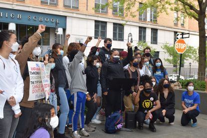 Teens Take Charge rally outside of Stuyvesant High School to demand admissions reform and anti-racist policies to keep Black and Latinx students safe on May 12, 2021. Stuyvesant had 749 spots open for the incoming freshman class and only admitted 8 Black students and 20 Latinx students. That is less than 4% of the spots. (Abrigail Williams/New York Daily News)