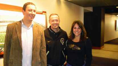 Gov. Martin O'Malley (center) with Christian Johansson, state secretary of business and economic development, and Jill Kamenetz, wife of Baltimore County Executive Kevin Kamenetz, at a Ravens game.