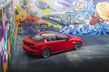The 2020 Jaguar XE offers two turbocharged, four-cylinder engine options, with outputs of 247 hp and 296 hp. (James Lipman/Jaguar/TNS)