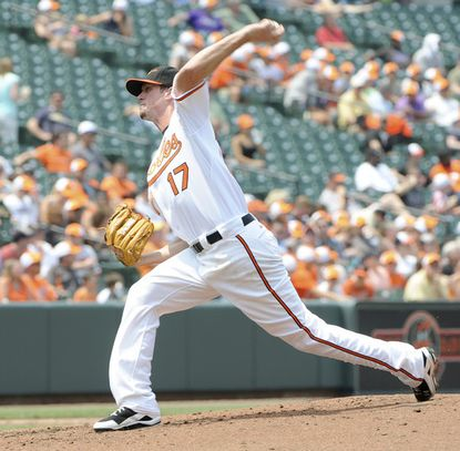 Orioles starter Brian Matusz lasted just 1 1/3 innings against the Rays, giving up four runs and five hits.